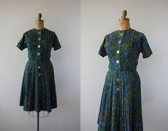 "vintage 1960s dress / 60s shirt dress / 60s blue green day dress / 60s button front dress / 60s pleated skirt / large 32"" waist plus size"