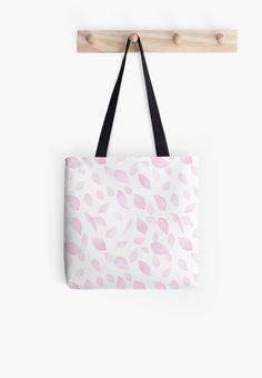 Falling sakura petals tote bag by Anastasia Shemetova #faerieshop #pattern #beautiful #pink #cherry #blossom #sakura #fall #petal #flying #redbubble #accessories #bag