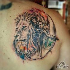 Tattoo by So Yeon #watercolortattoo #horoscope #Leo #Saggitarus #tattoo
