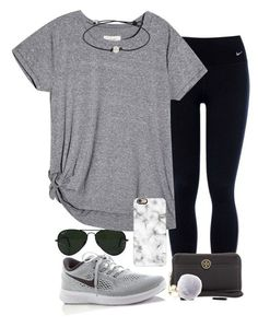 """I really struggle with layouts"" by valerienwashington on Polyvore featuring NIKE, Ray-Ban, Casetify and Tory Burch Image source"