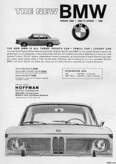 BMW 1600-Series Advertisement. 1964... Visit us: www.bavarianperformancegroup.com/ Source: www.pinterest.com/pin/232216924508672988/