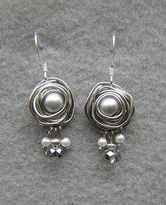 Beautiful Wire Wrap Pearl Earrings