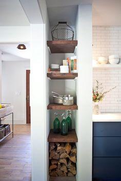 Jen Langston Interiors - kitchens - kitchen nook, vertical nook, floating shelves, kitchen floating shelves, firewood storage,  Amazing kitc...
