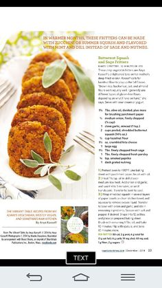 Butternut Squash and Sage Fritters