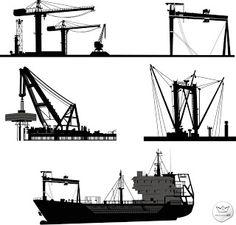Grúas industriales muy detalladas en vector (High Detail Vector Harbour Cranes)