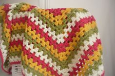 Granny Square Baby blanket in colors PinkGreenCream and by Aalexi,