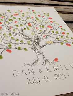 Would love to have a finger print tree for our guest book, but I wonder if I could draw myself...