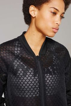 Hexagon Mesh Bomber Jacket by Ivy Park - Ivy Park - Clothing - Topshop Singapore