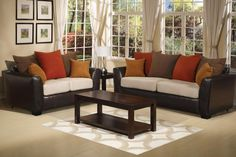 living room with brown couch orange - Google Search