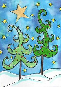 ACEO Whimsical Christmas Trees I painted in pen and ink and watercolor