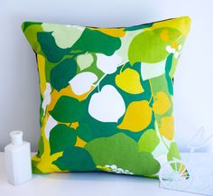 Love the bright colors!  Green cushion green pillow retro cushion by HenriettaAndMorty, $29.95 on Etsy