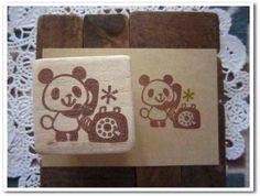 Stamp ハンドメイド 消しゴムはんこ パンダ黒電話 インテリア 雑貨 Handmade ¥150yen 〆05月27日