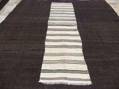 """Black and white Stripe Kilim Rug Runner,9,1""""x2,5"""" Feet 278x75 Cm Vintage Home Decor Handwoven Anatolian Kilim Rug Runner,Turkish Runner Rug."""