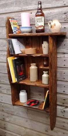 Rustic/ driftwood style book/display shelves in locally