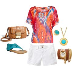 white shorts, bright flowy top