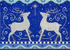 NEEDLEPOINT-Handpainted-Amanda-Lawford-Christmas-2-REINDEER-Blue-Silver-NEW