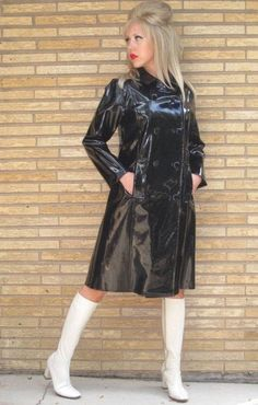 Black raincoat white boots vintage style outfit