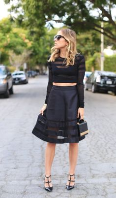 Cynthia Rowley mesh circle skirt, Zara croped top, Brian Atwood bag, Valentino Rockstud pumps #StreetStyle