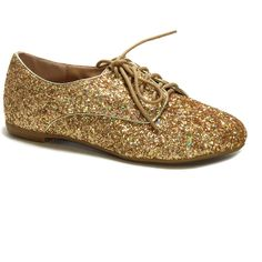 Bamboo Gold Glitter Oxford ($12) ❤ liked on Polyvore featuring shoes, oxfords, lace up flats, glitter flats, gold glitter shoes, flat pumps and formal flats