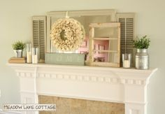 Great example of an asymmetrical mantel design  from Meadow Lake Cottage