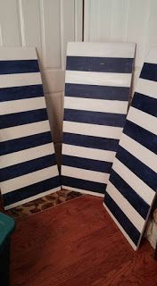 How to make striped nautical boards/backdrop.                                                                                                                                                                                 More