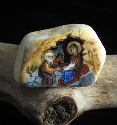 Nativity Icon painted on marble scrap. So cool!
