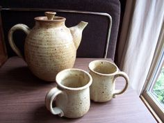 Vintage 1970s Studio Pottery Teapot and Pair by MyKnickKnackStore, $22.00