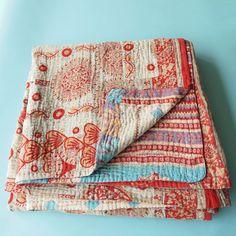Cotton Sari Kantha Blanket Big in Jalaja by Tulsi Crafts