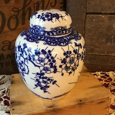 Blue on White Prunus Branch Covered Ginger Jar by SunshineVintageGoods on Etsy