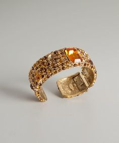 Kenneth Jay Lane : gold and yellow topaz cuff : style # 317210801 My Birthstone, Shades Of Yellow, Druzy Ring, Birthstones, Topaz, Jay, Gold Rings, Wedding Rings, Rose Gold