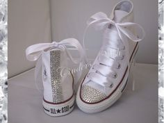 Classic sparkle converse / high top bling converse / customised diamante converse / wedding converse / by CindersWish on Etsy