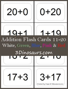 Free Addition Flash Cards 11-20 - 5 colors: White, Red, Blue, Green, and Pink - 3Dinosaurs.com