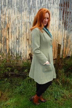 Women's tweed and velvet Dorlin Coat. Designed and handmade in Scottish Highlands.  Inspired by times past www.lornagillies.com