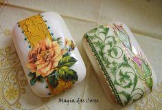 Sabonete com decoupage  e pintura-Decoupage and paint on soap
