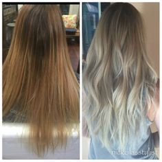 Before and after balayage ash blonde