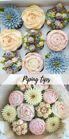 Piping tips - Cupcakes - These petal dispensing tips can help you to make tulips, roses, rosebuds, daisies, pansies and appl - Cake Decorating Techniques, Cake Decorating Tips, Cookie Decorating, Cake Pop Bouquet, Cupcake Bouquets, Cupcake Flower, Flower Cakes, Floral Cupcakes, Wedding Cakes With Cupcakes