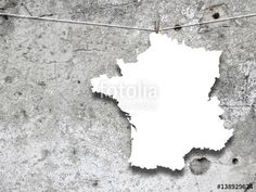 Blank France silhouette frame hanged by peg against gray concrete wall background