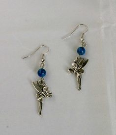 Tibetan Silver Fairy Earrings with Dyed Bue Howlite by KristasJewellery, $10.00