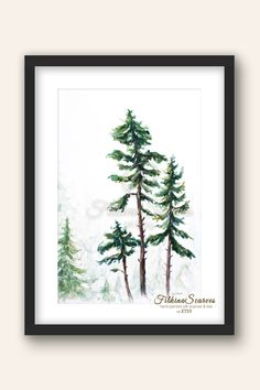 A high quality fine art print of an original watercolour painting. Pine Tree Painting, Tree Watercolor Painting, Watercolor Print, Tree Study, Wedding Gifts For Groom, Artisans, Beautiful Gifts, Cool Artwork, Printable Wall Art