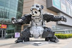 Nearly twenty-feet high, this marvelous sculpture recently went on display in Shenyang, China.  Not Japan but mechs panda is too cool!