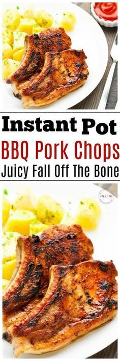 Instant Pot BBQ pork chops recipe ready in 10 minutes! These are the most moist, tender bone-in pork chops I've ever eaten! via paleo dinner instant pot Instant Pot Pressure Cooker, Pressure Cooker Recipes, Pressure Cooking, Slow Cooker, Pressure Pot, Cena Paleo, Instant Pot Pork Chops, Instant Pot Dinner Recipes, Recipes Dinner