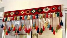 Crocheted toran in bright, happy colors, valance, boho decoration, window decoration door craftsbymischa op Etsy Crochet Wall Hangings, Crochet Curtains, Yarn Wall Hanging, Beaded Curtains, Creative Crafts, Diy And Crafts, Arts And Crafts, Paper Crafts, Door Hanging Decorations