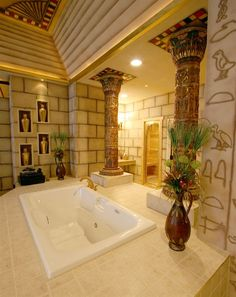 Destinations Inn in Idaho has an Egyptian room, complete with hieroglyphics, and lots of other themed suites! I want to go!