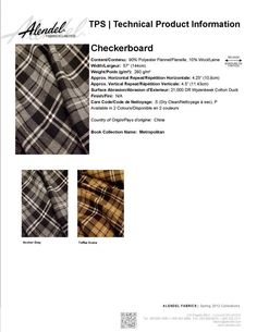 Alendel Fabrics Checkerboard TPS | Technical Product Information Sheet