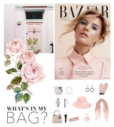 """""""What's in my bag: pink"""" by orcavelle ❤ liked on Polyvore featuring Guerlain, OMEGA, Christian Dior, Giorgio Armani, Pandora, August Hat, Valentino, RAJ, Mario Portolano and women's clothing"""