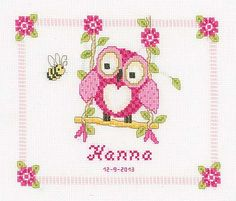 Owl Birth Sampler Cross Stitch Kit by Vervaco