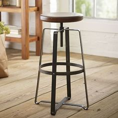 Industrial revolution. With its solid wood swivel-seat and steel legs, the Adjustable Industrial Stool brings stripped-down, elemental style to kitchen islands, bars and counters. Its raw good looks work well in any setting, whether traditional or…