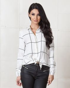 STYLESTALKER MONUMENTAL WINDOW PANE BLOUSE | White & black grid print, long cuffed sleeves , front button down center for closure and cut out-open back styling | available on www.shopfashtique.com