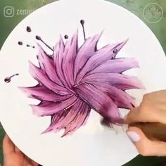 amazing art Zemer Peled Art uses meticulously methodical brushstrokes to turn ordinary plates into floral works of art! (Check out her IN BLOOM tableware collection for Bernardaud) Floral Tableware Paintings by Zemer Ever I Seen Before Watch Once Pottery Painting, Ceramic Painting, Deco Nature, Acrylic Painting Techniques, Painting Videos, Art Watch, Arte Floral, Diy Art, Creative Art