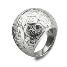 Monica Rich Kosann: Sterling Silver Floral Patterned Cocktail Ring